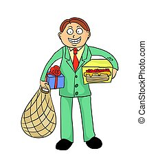 Happy smiling young man with gifts. Vector illustration,...
