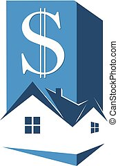 Sale and rental housing symbol. Sign of money and a house...