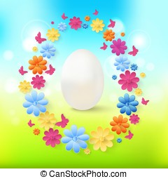 Easter eggs with colorful flowers, butterflies on spring background.