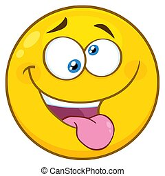 Mad Yellow Cartoon Smiley Face Character With Crazy Expression And Protruding Tongue