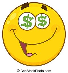 Funny Yellow Cartoon Emoji Face Character With Dollar Eyes...