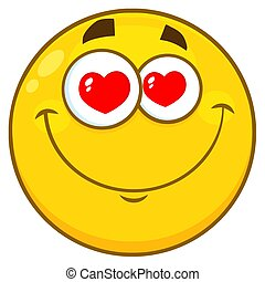 Smiling Yellow Cartoon Smiley Face Character With Hearts Eyes