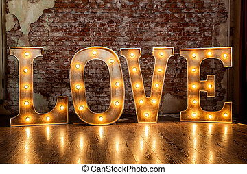Love sign luminous - Metal letters with small lamps, love...