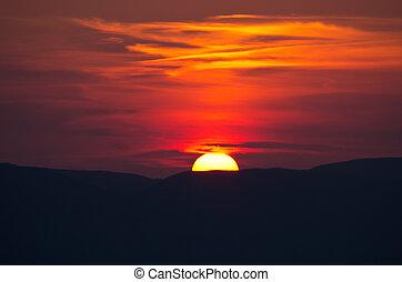 Beautiful sunset over Zakynthos island, Greece