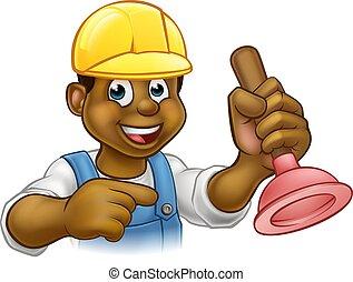 Handyman Plumber Holding Punger Cartoon Character - A...