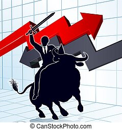 Business Man on Bull Profit Concept - Stock market concept...
