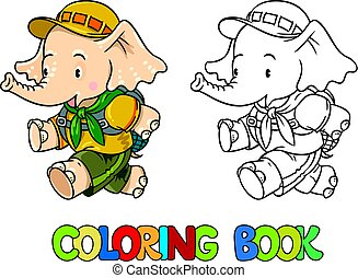 Running little baby elephant. Coloring book. Scout