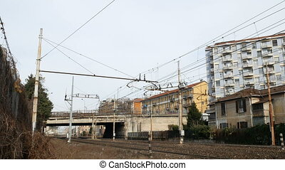 Train tracks in suburban area close to Milan