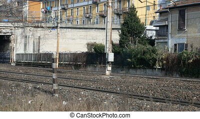 Train tracks in suburban area close to Milan - Train tracks...
