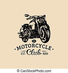 Motorcycle Club advertising poster.Vector hand drawn...