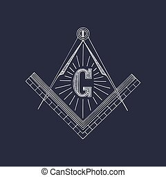 Masonic square and compass symbols. Hand drawn freemasonry...