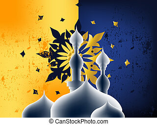 Islamic Illustration - Golden Arabic Calligraphy, hand...