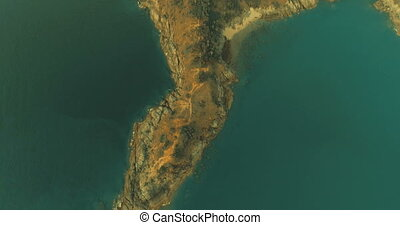 Aerial video of sea and Path at Promthep Cape Cliff during...