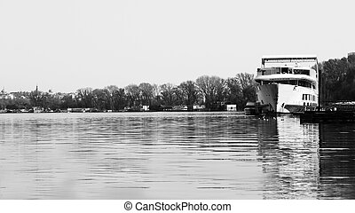 Ship Anchored at River Danube With View of the River, Boats...