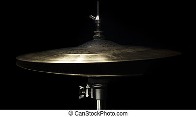 Drum High Hat Close up Isolated On Black Background