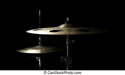 Drum High Hat and Cymbal Close up Isolated On Black Background