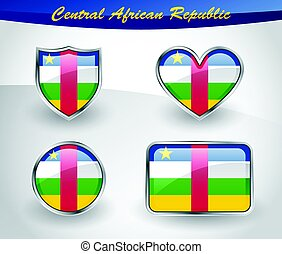 Glossy Central African Republic flag icon set with shield,...