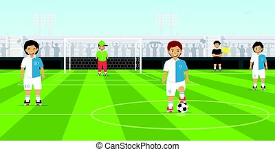 Kids soccer team - Children are football team with a...
