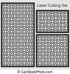 A set of decorative panels for laser cutting with a geometric pattern for cutting out paper, wood, metal. Template. Element of design. 1: 1, 1: 2, 2: 3. Vector illustration.