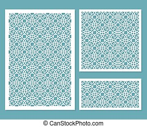 A set of decorative panels for laser cutting with a geometric pattern for cutting out paper, wood, metal. Element of design. 1: 1, 2: 3, 1: 3. Vector illustration.
