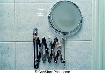 Vintage mirror in bathroom - Vintage retro chrome mirror...