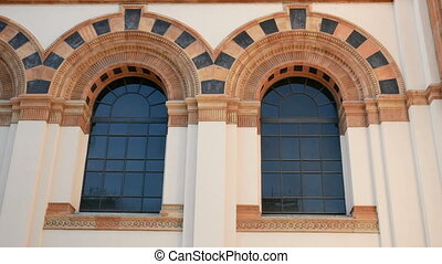 Windows on the facade of the Milan Natural History Museum -...