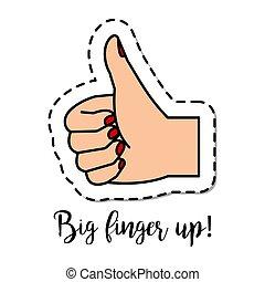 Fashion patch element Big finger up - Fashion patch element...