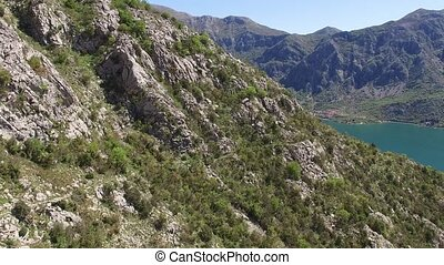 The island of Gospa od Skrpela, Kotor Bay, Montenegro. View from