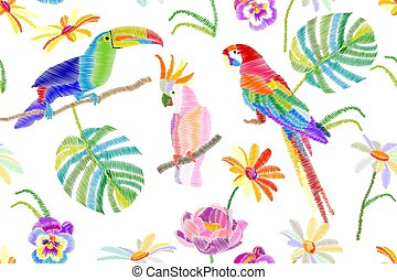 Tropical summer. Seamless vector pattern with parrots, toucan, flowers and palm leaves on white background.