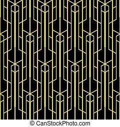 Abstract art deco seamless monochrome background