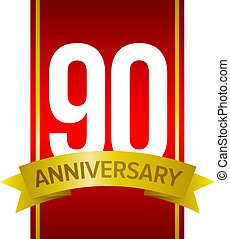 White digits 90 on red background. Ninety years sign - White...