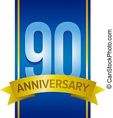 Vector label for 90th anniversary with large digits on blue...