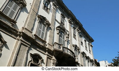 Facade of traditional building in the Brera district in...