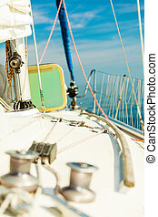 Yacht capstan on sailing boat during cruise - Yacht capstan...