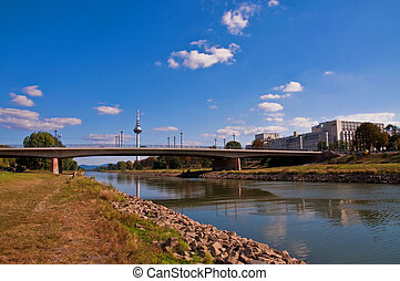 Neckar river in Mannheim - view over Mannheim with neckar...