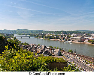 view over coblence - view over the city coblende in rhine...