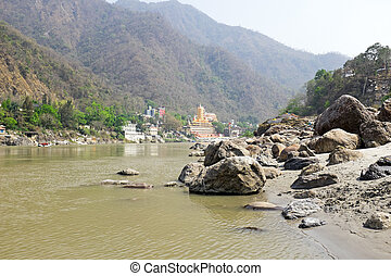 The river Ganges at Laxman Jhula in India
