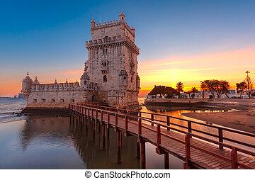 Belem Tower in Lisbon at sunset, Portugal - Belem Tower or...