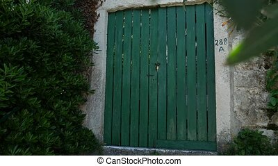 Green doors. Wood texture. Old shabby, irradiated paint