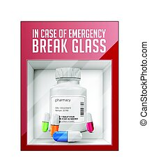 In case of emergency break glass - pills concept