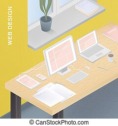 Adaptive web design for various devices. Colorful vector illustration with responsive design on computer, tablet, smartphone, laptop.
