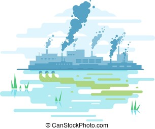 Industrial Pollution of Nature - Factory buildings...