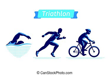 Triathlon logos or badges set. Vector figures triathletes on...