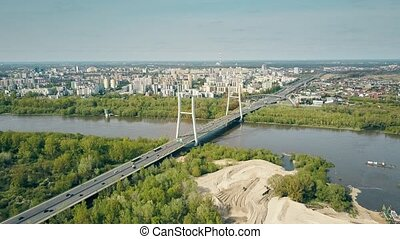 Aerial shot of Warsaw residential area, Vistula river and...