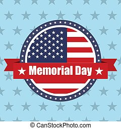 USA flag on button stamp with ribbons Memorial Day