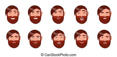 Set of man's emotions. Bearded guy face. Cartoon character with different facial expression collection. Colorful vector illustration in flat style.