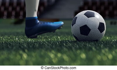 detail soccer player kicking ball on field 3d illustration