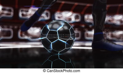 Soccer ball floating in space to goal with neon shot effect...