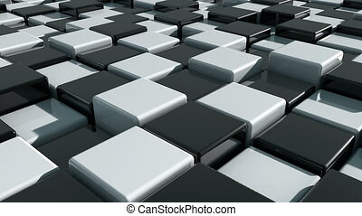 Realistic Movement of cubes. Futuristic background with...