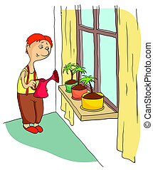 Young man watering flowers standing on the window sill....